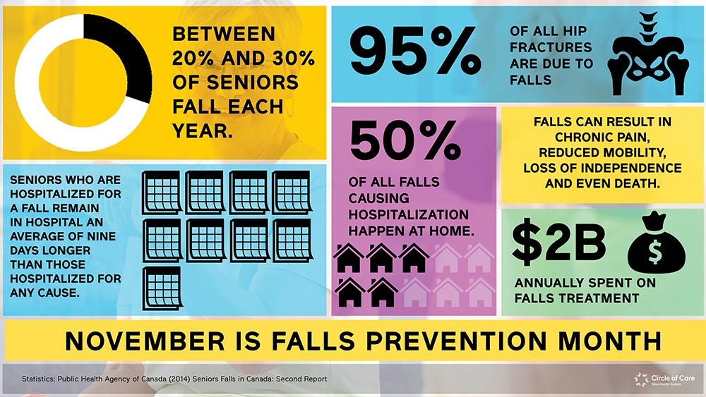 Infographic describing falls in seniors across Canada