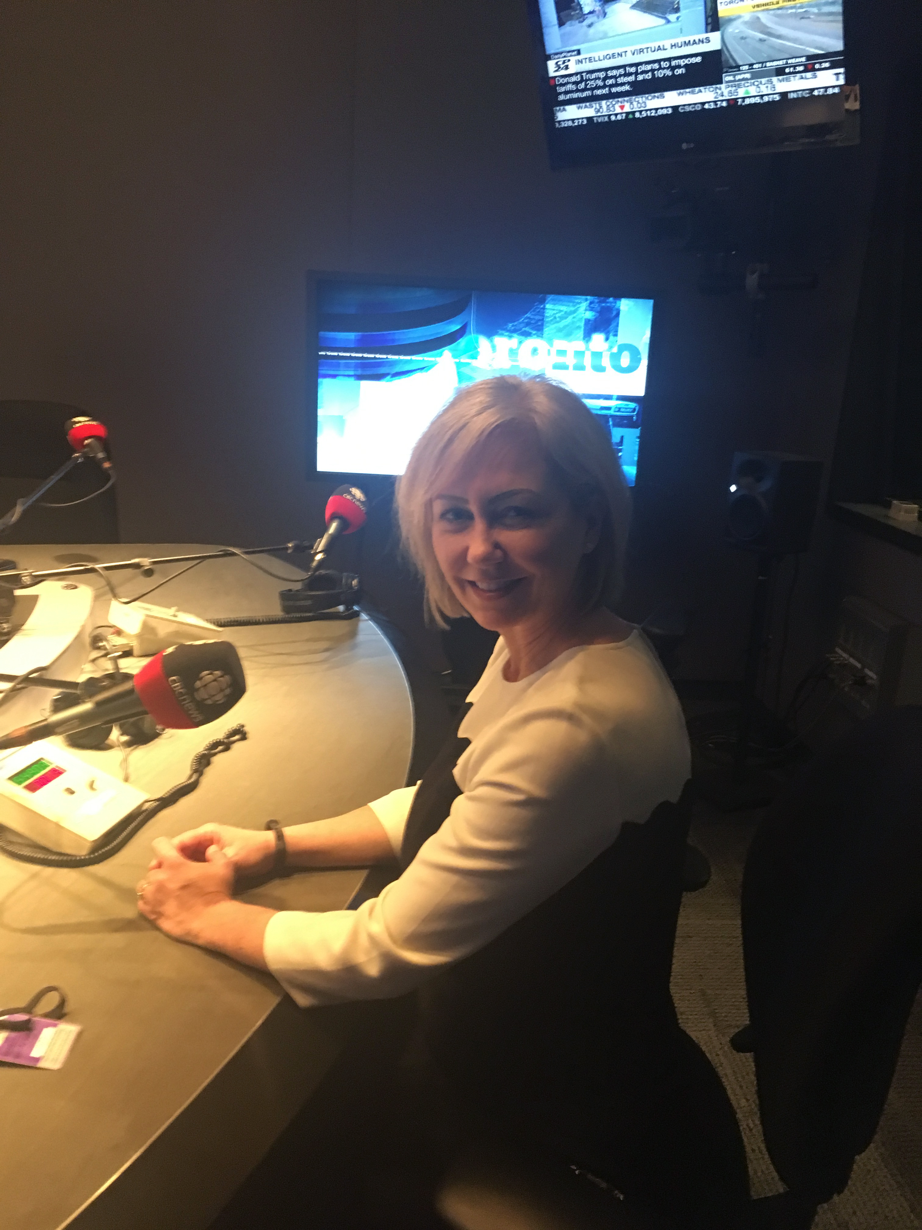 CEO Carey Lucki at the CBC studio.