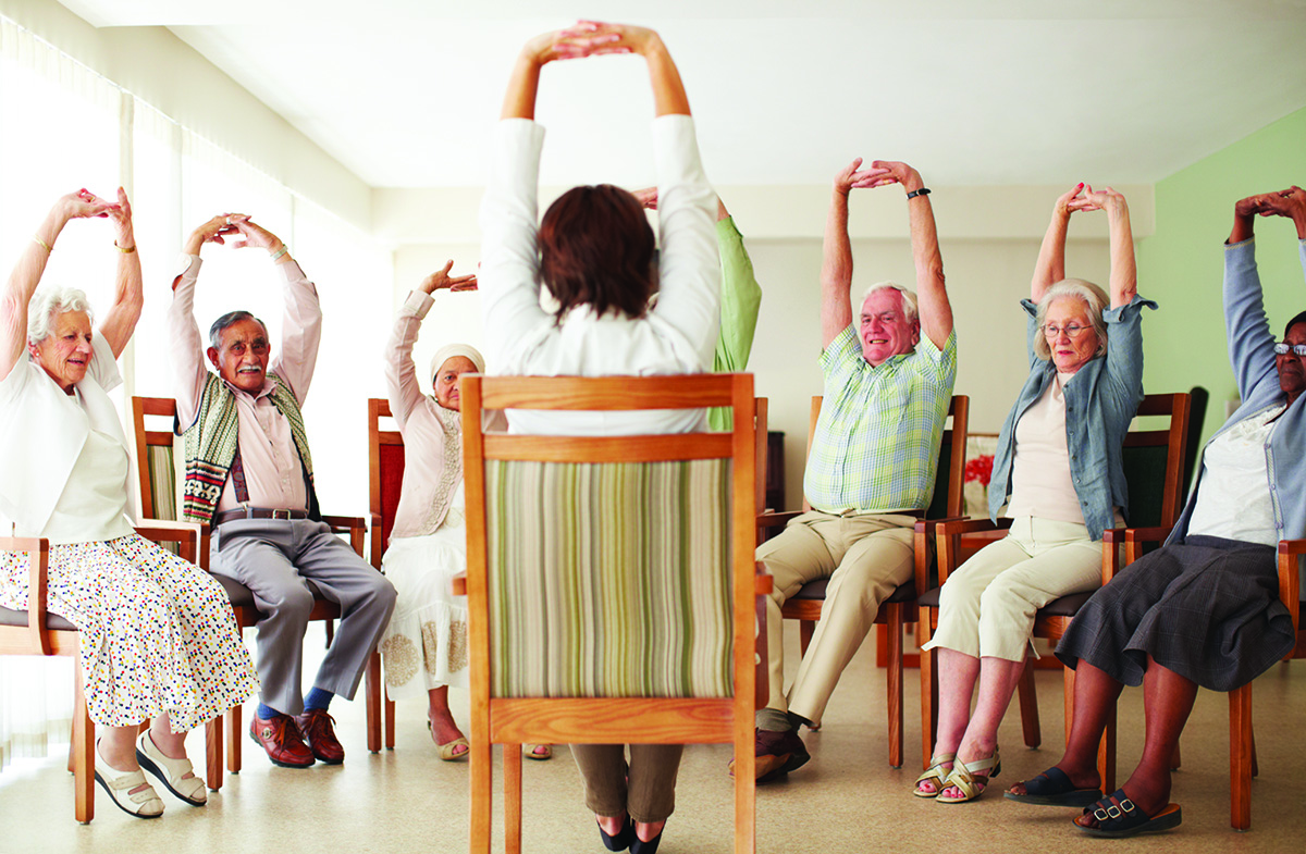 Stretching exercise routine for the elderly