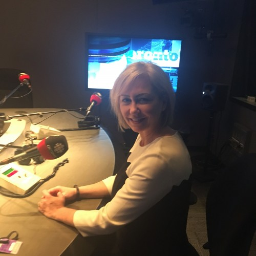 CEO Carey Lucki at the CBC studio.