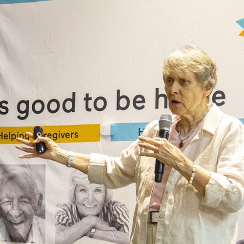 photo of Roberta Bondar speaking at the Circle of Care volunteer appreciation event