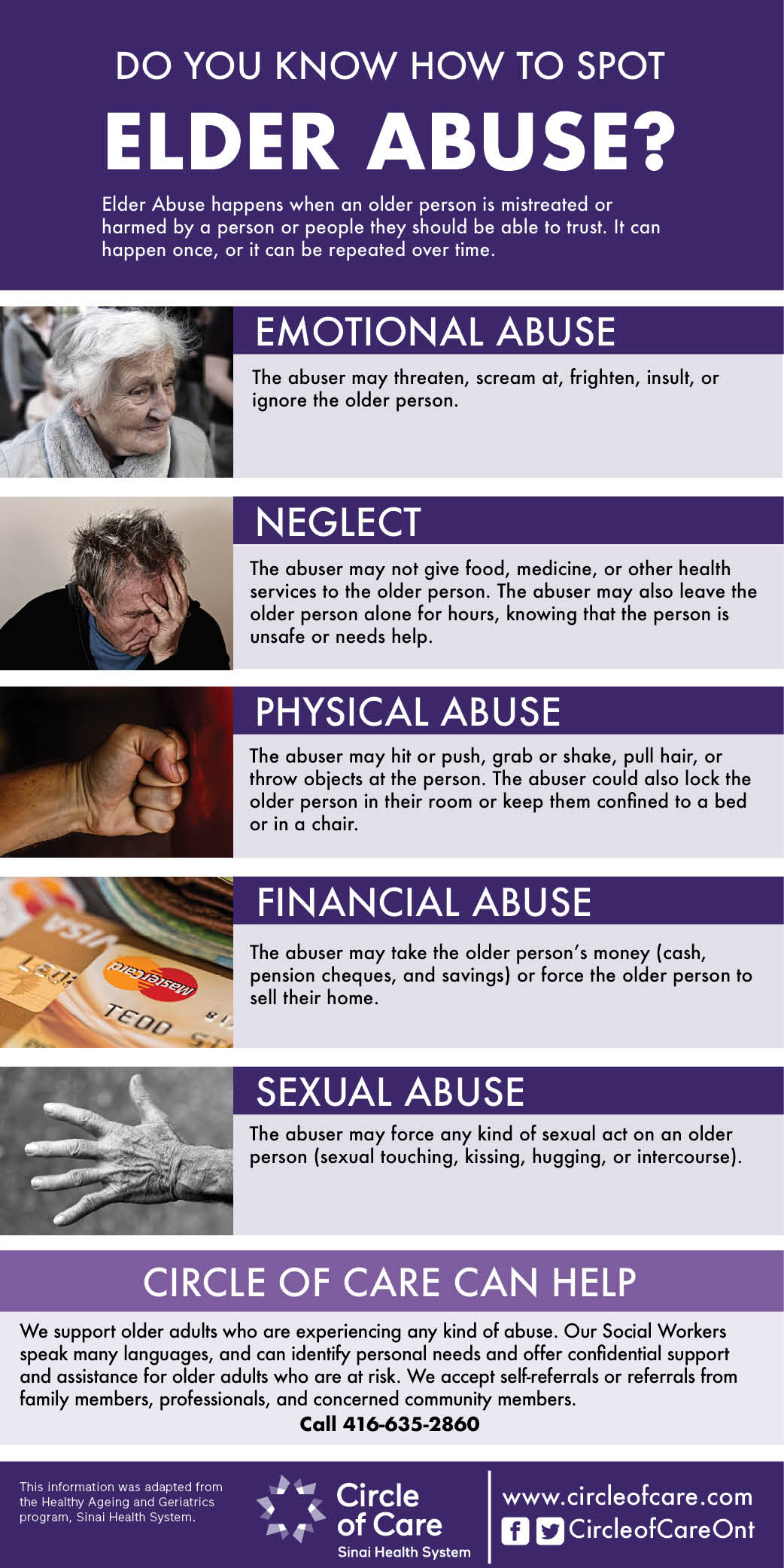 Infographic that asks Do you know how to spot elder abuse?