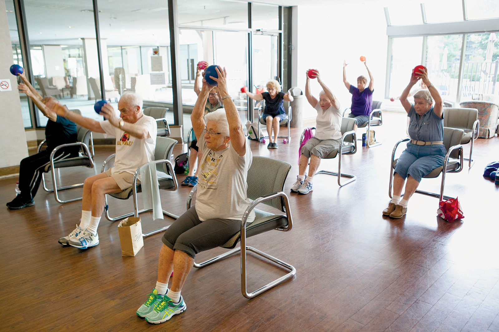 photo of senior exercise class