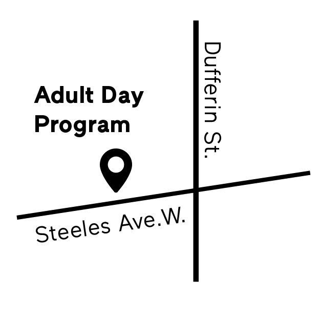 map of intersection of Adult Day program at Dufferin and Steeles
