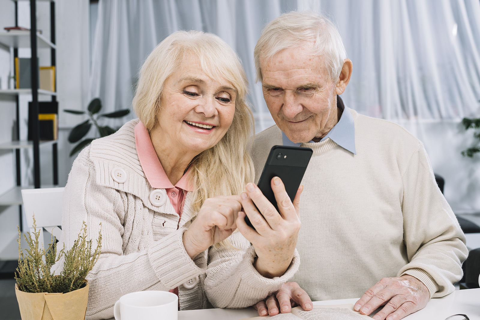 senior couple looking at a smartphone