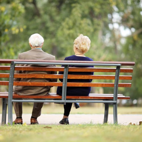 Rear view of a senior couple sitting outdoor on bench.