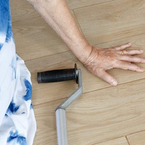 elderly woman falling down at home