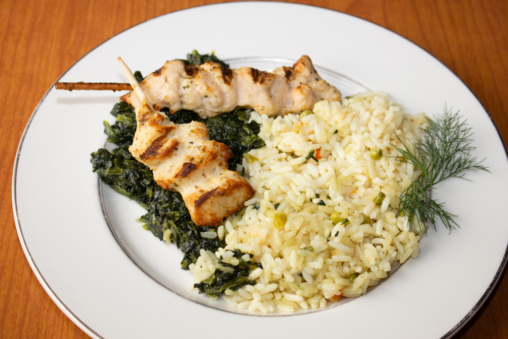 Chicken souvlaki with rice
