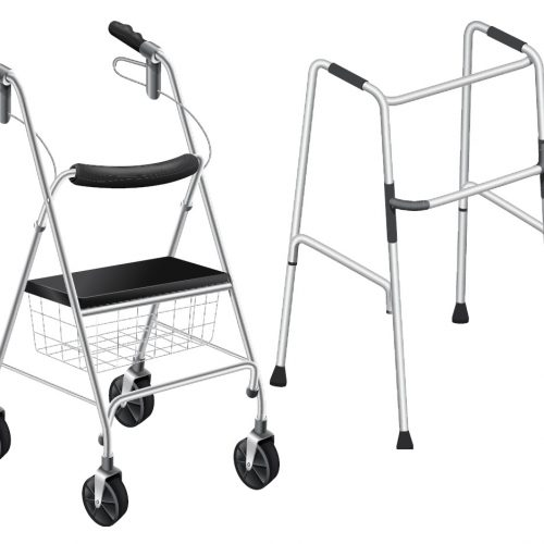 examples of two types of walkers, one with a basket and one without.